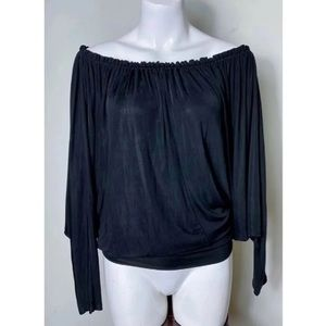 Bebe Ruched Relaxed Solid Long Sleeve Blouse XS